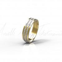 Anel de ouro amarelo e diamantes.